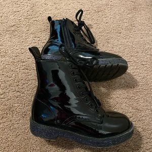 Toddler Black Glitter Boots